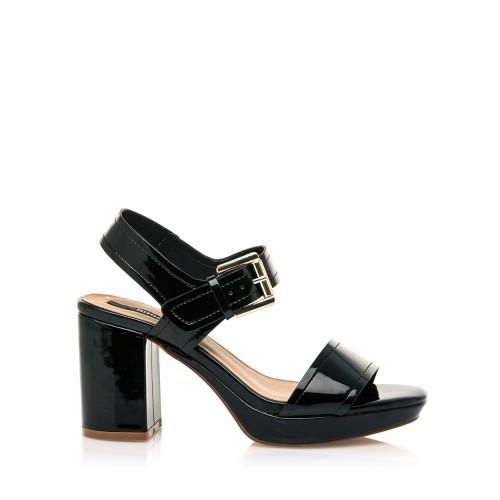 MTNG Černé lesklé sandály na širším podpatku MTNG