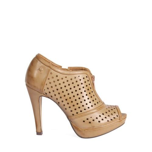 MARIA MARE Hnědé děrované boty na podpatku MARIA MARE
