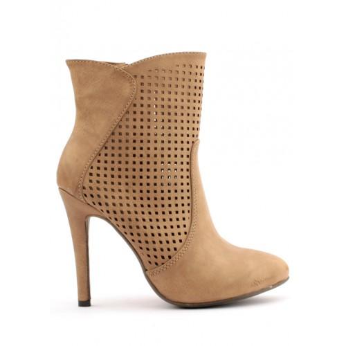 Trendy too Hnědé děrované boty na podpatku Trendy too