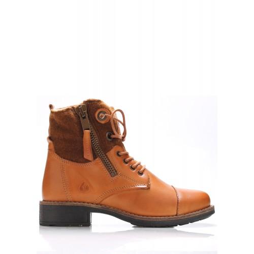 Online Shoes Hnědé kožené boty s kožíškem Online Shoes