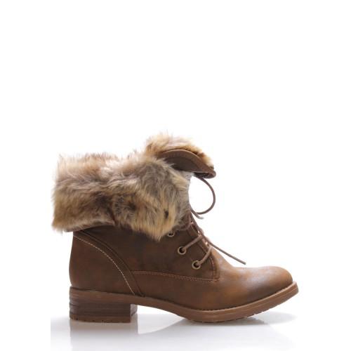 Monshoe Hnědé ohrnovací boty s kožešinou Monshoe