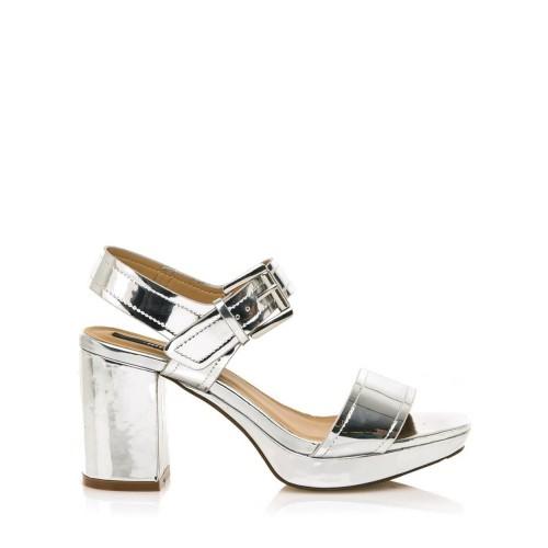 MTNG Stříbrné sandály na širokém podpatku MTNG