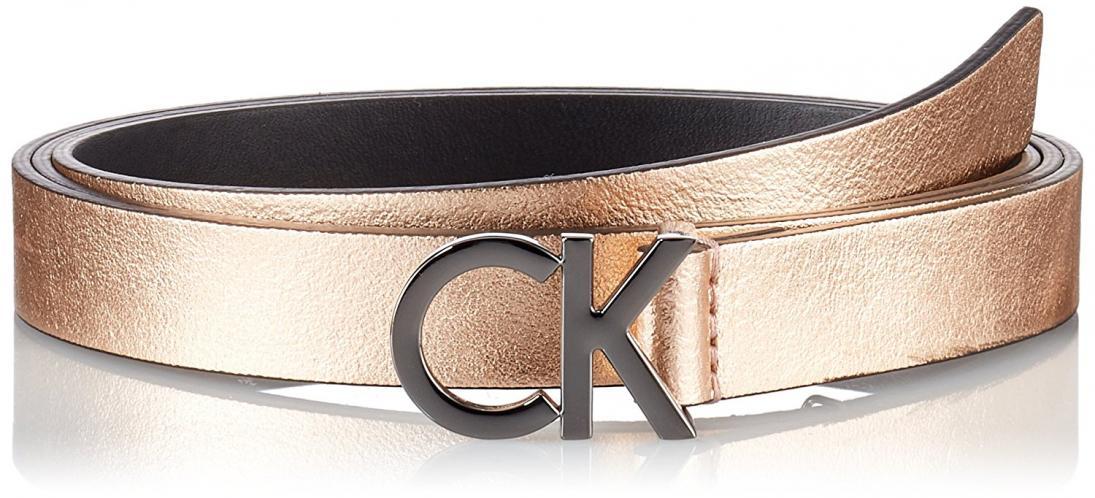 Calvin Klein metalický kožený pásek CK Skinny Waistbelt