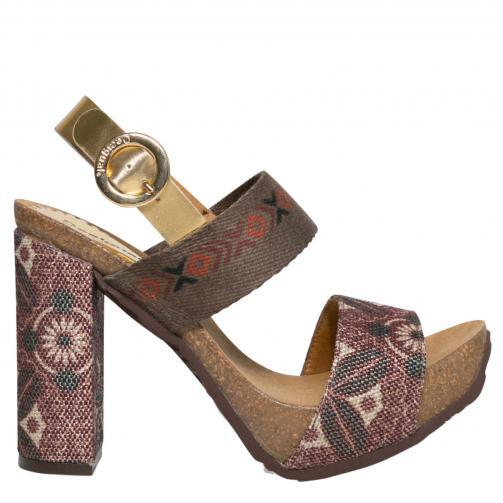 Desigual hnědé boty na podpatku Carioca Sofisafari