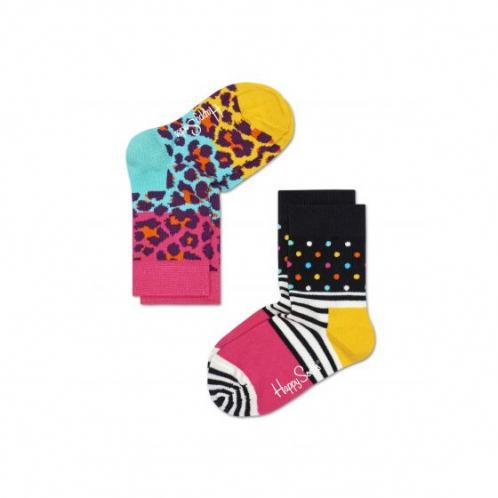 Happy Socks růžovo-mentolová sada dětských ponožek