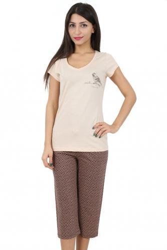 Bavlněné dámské pyžamo Beige bird XL