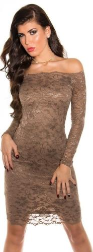 Večerní dámské šaty s krajkou Koucla  IN-SAT 1035 CA L hnědá