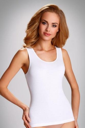 Bílá spodní košilka Clarissa s širokými ramínky S