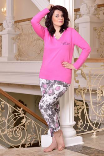 Bavlněné dámské pyžamo Lena růžové XXL