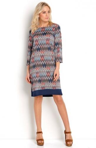 Šaty Belicia / se vzorem/modrá - Krátká délka , Dlouhá délka