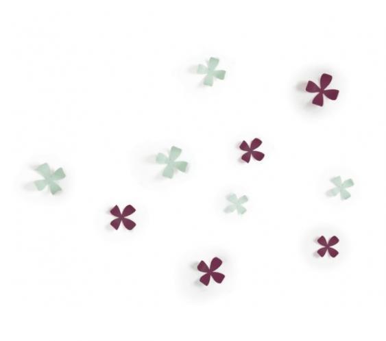 Dekorace na zeď Umbra Wallflower 10 ks - fialová/mintová