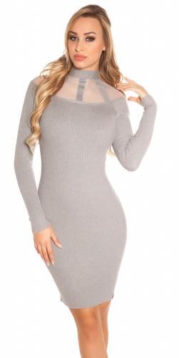 Koucla Dámské úpletové šaty šedé