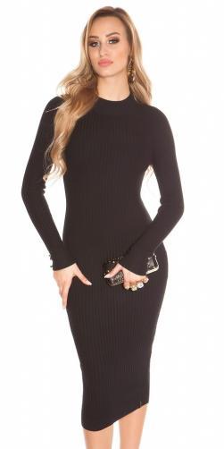 Koucla Černé šaty z úpletu