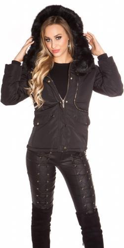 Koucla Zimní krátká bunda s kapucí