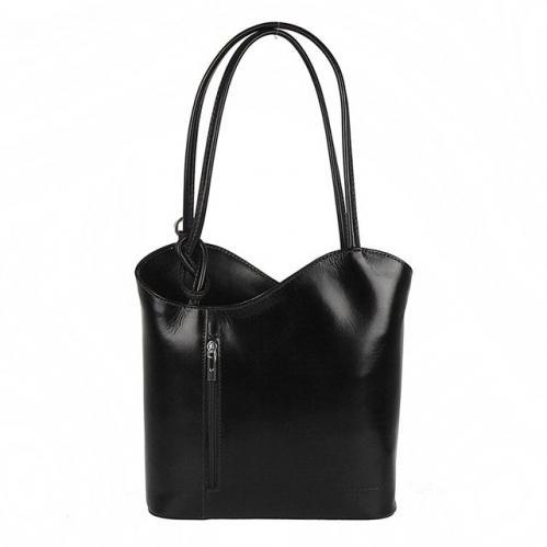 Kabelka batoh Connie kožená - černá