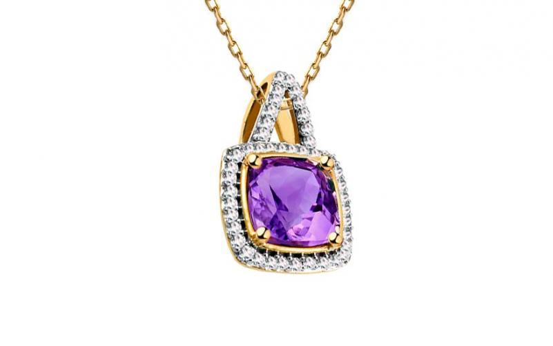 Ametystový přívěsek s diamanty 0,090 ct Casandra KU587P