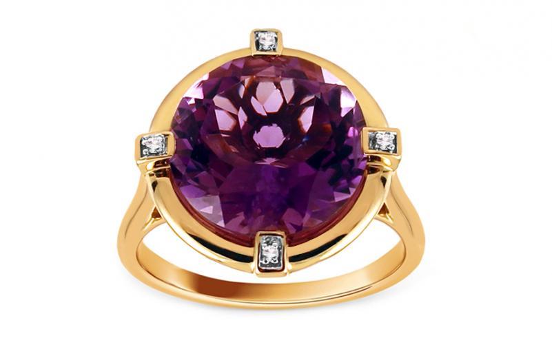 Ametystový prsten s diamanty 0,020 ct Lizabeth KU614