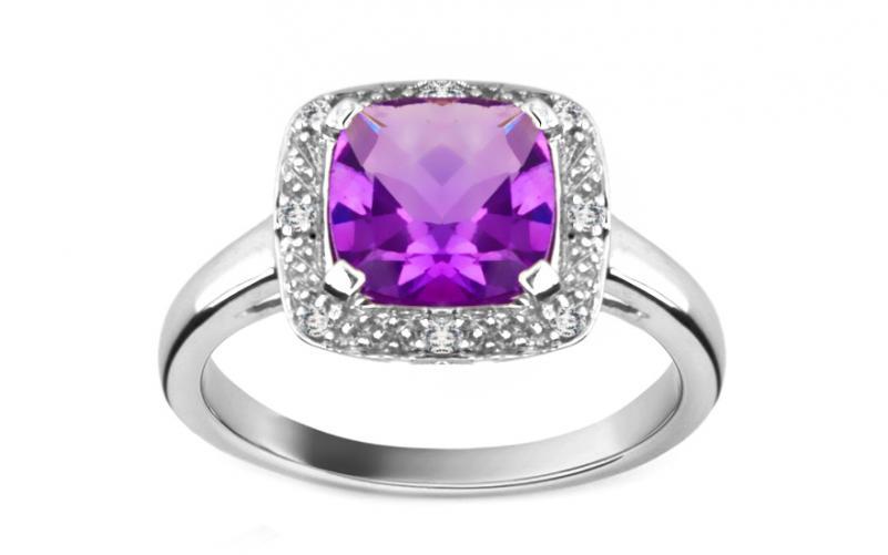 Ametystový prsten s diamanty 0,040 ct Amerei KU180