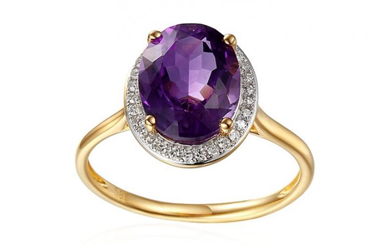 Ametystový prsten s diamanty Julee IZBR296