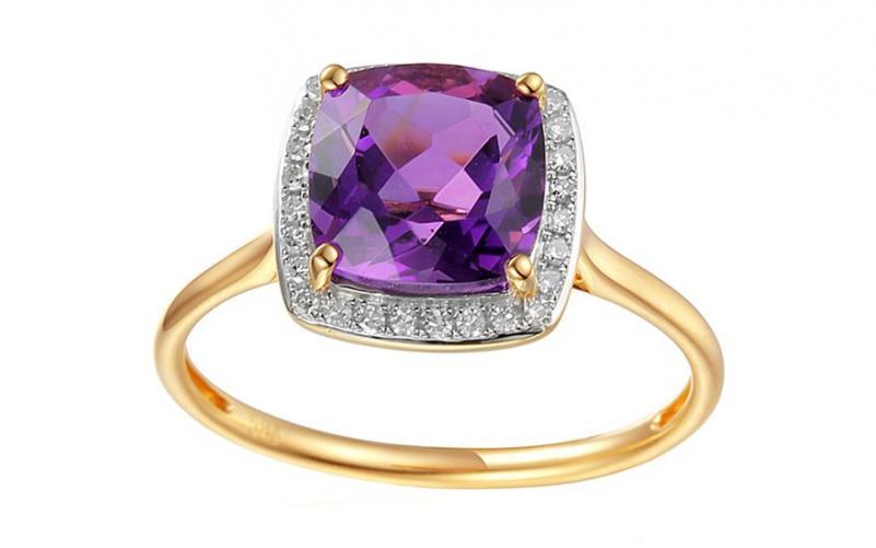 Ametystový prsten s diamanty Liriene IZBR295