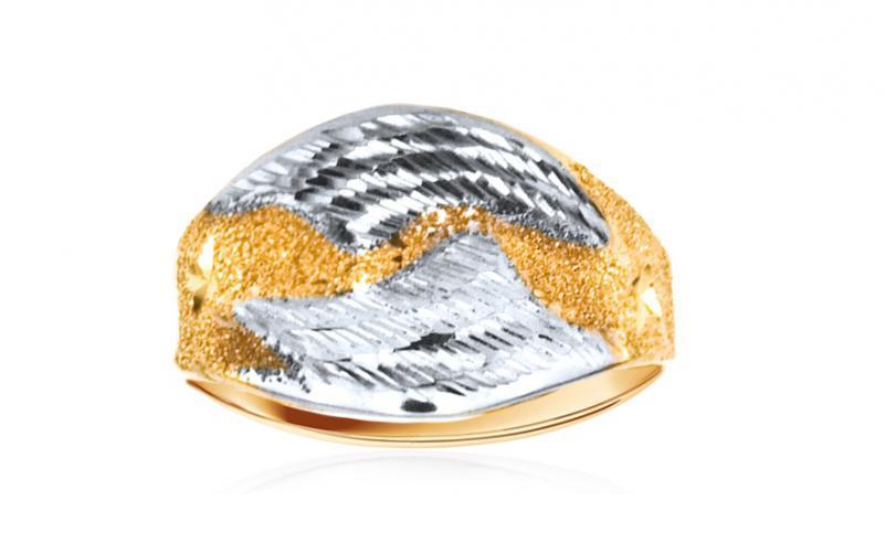 Celozlatý dámský prsten dvoubarevný IZKA340