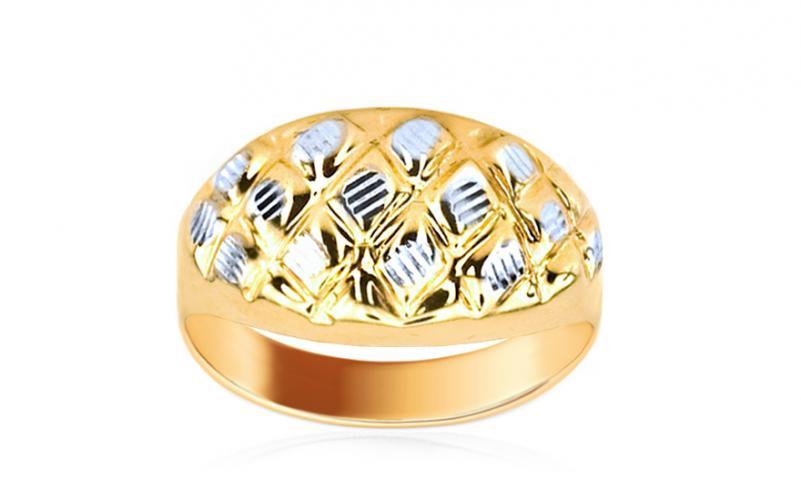 Celozlatý dámský prsten dvoubarevný IZKA344
