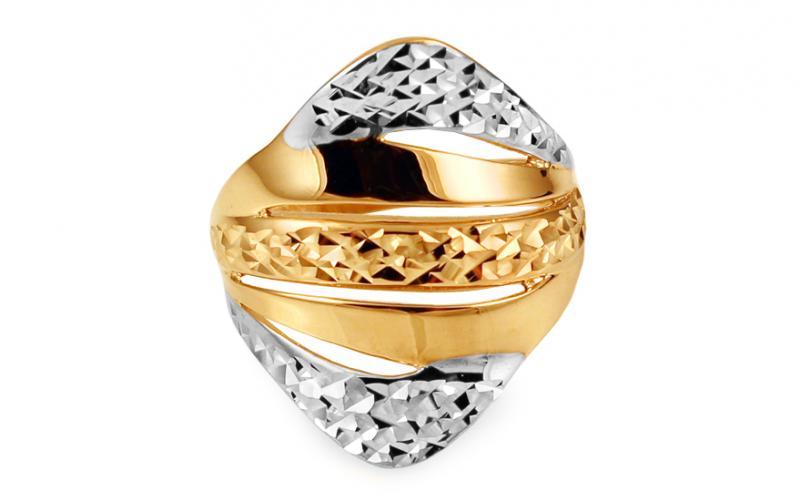 Celozlatý dámský prsten dvoubarevný s gravírováním IZ10726