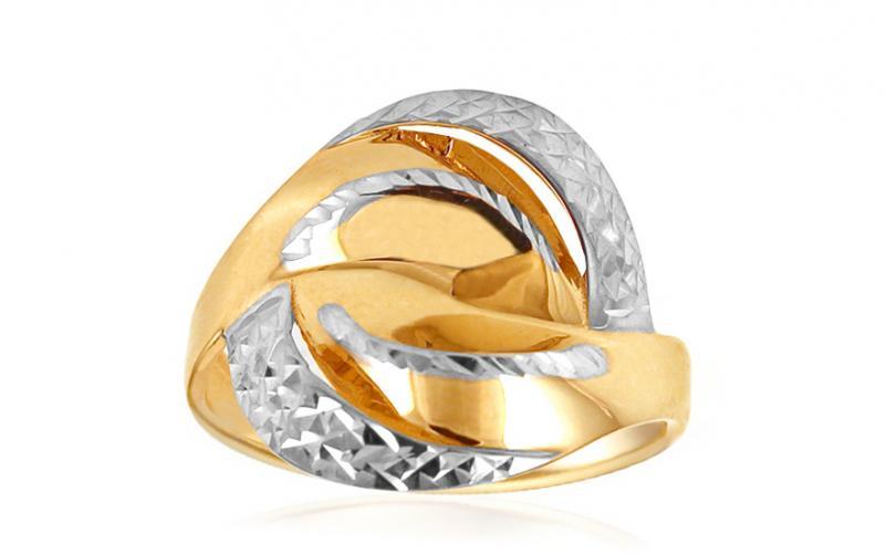 Celozlatý dámský prsten dvoubarevný s gravírováním IZ10717