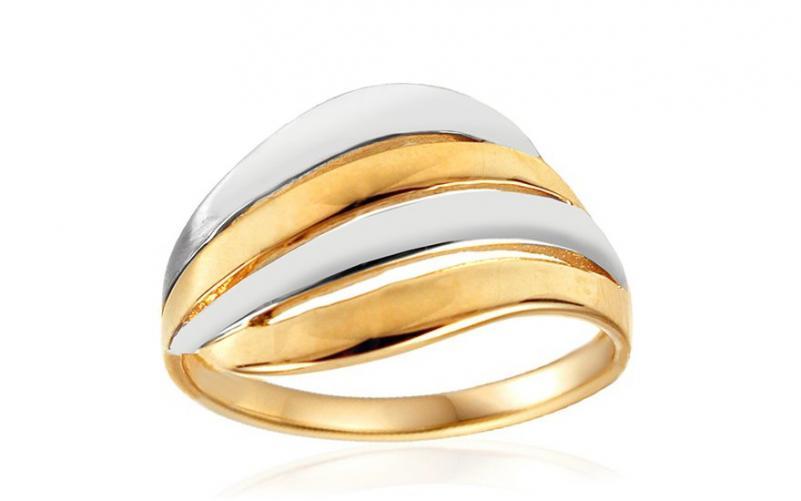 Celozlatý dvoubarevný prsten IZ10735