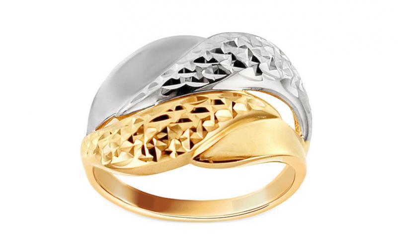Celozlatý dvoubarevný prsten s gravírováním IZ10707