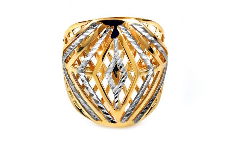 Celozlatý dvoubarevný prsten s gravírováním IZ10741
