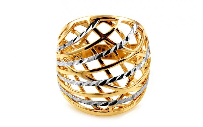 Celozlatý dvoubarevný prsten s gravírováním IZ10745