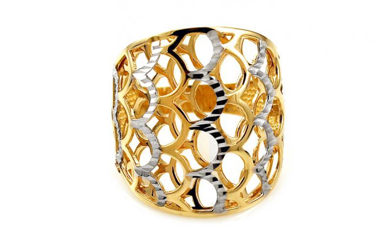 Celozlatý dvoubarevný prsten s gravírováním IZ10746