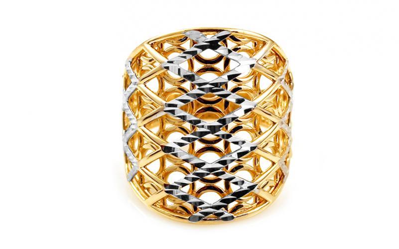 Celozlatý dvoubarevný prsten s gravírováním IZ10788