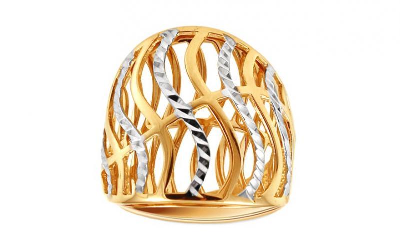 Celozlatý dvoubarevný prsten s gravírováním IZ11395