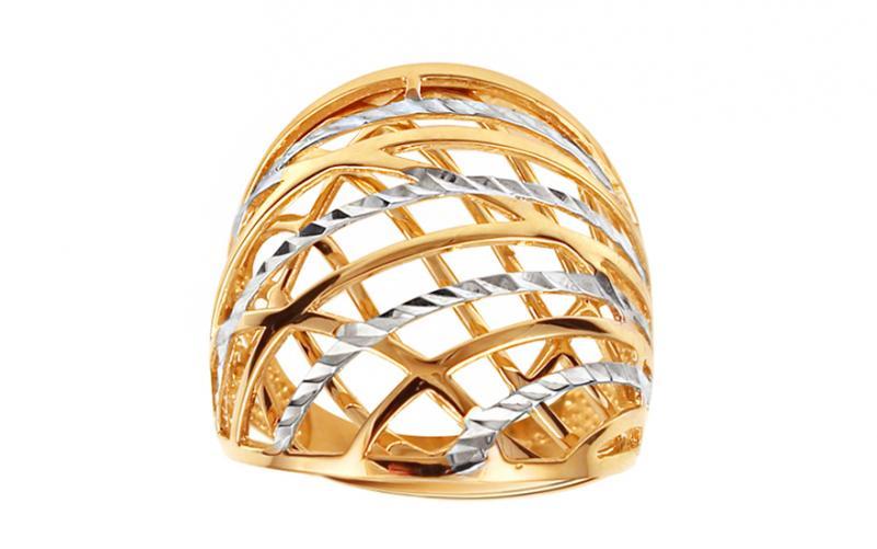 Celozlatý dvoubarevný prsten s gravírováním IZ11394