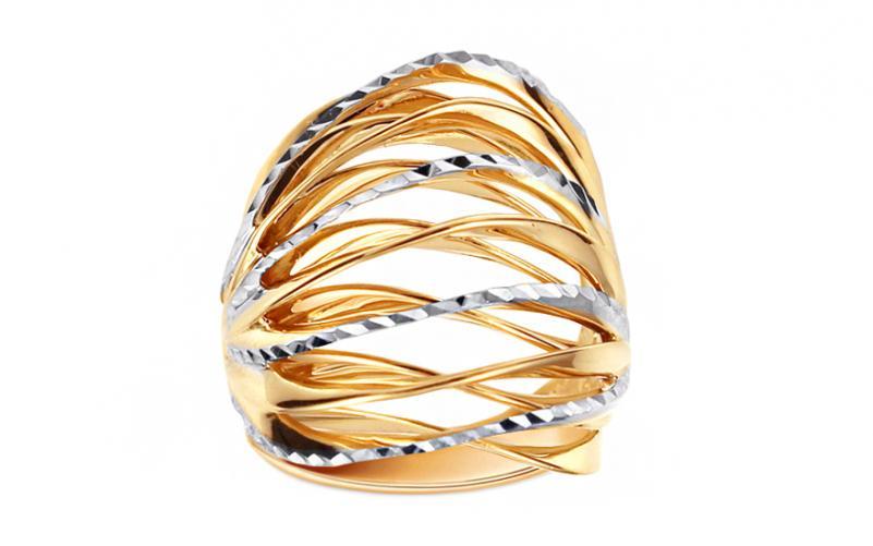 Celozlatý dvoubarevný prsten s gravírováním IZ11396