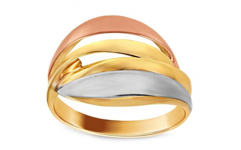 Celozlatý trojbarevný prsten IZ10719