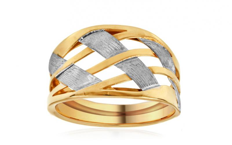 Celozlatý výrazný dvoubarevný prsten IZ10954
