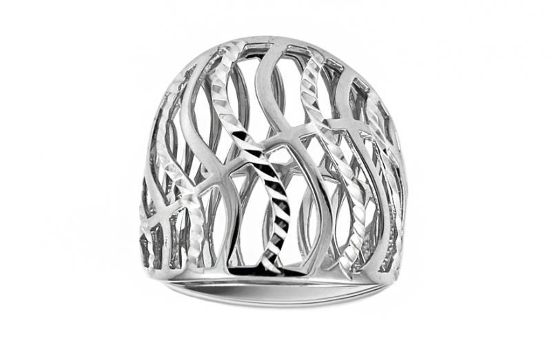 Celozlatý výrazný prsten s gravírováním IZ11395A