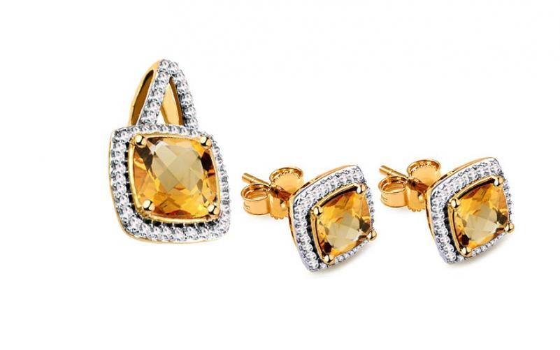 Citrínová souprava s diamanty 0,190 ct Carolynn KU587YS