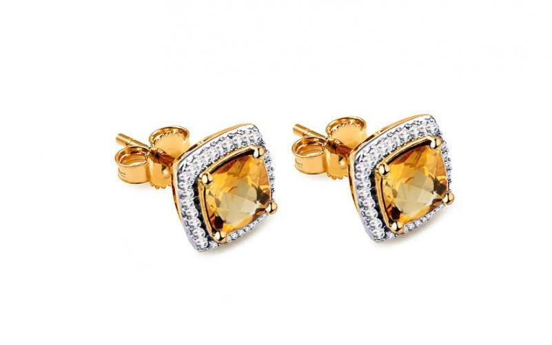 Citrínové náušnice s diamanty 0,100 ct Carolynn KU587YN