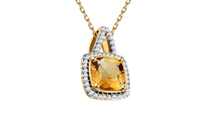 Citrínový přívěsek s diamanty 0,090 ct Carolynn KU587YP