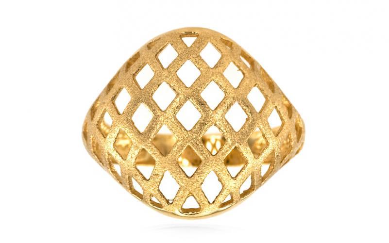 Dámský celozlatý prsten pískovaný IZ5138