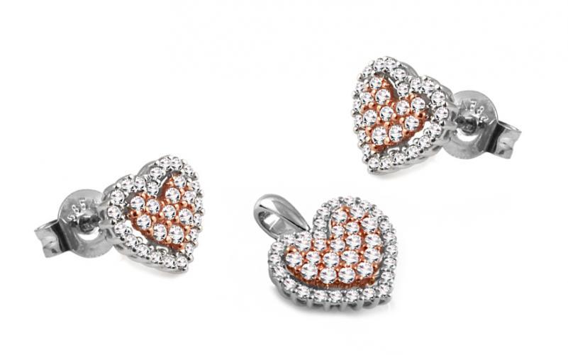 Diamantová souprava 0,720 ct Pink Heart DB0038S