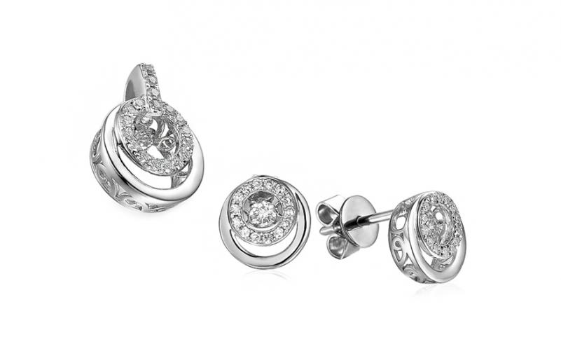 Diamantová souprava z bílého zlata 0,340 ct Dancing Diamonds IZBR552AS