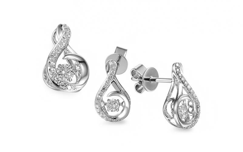 Diamantová souprava z bílého zlata 0,350 ct Dancing Diamonds IZBR555AS