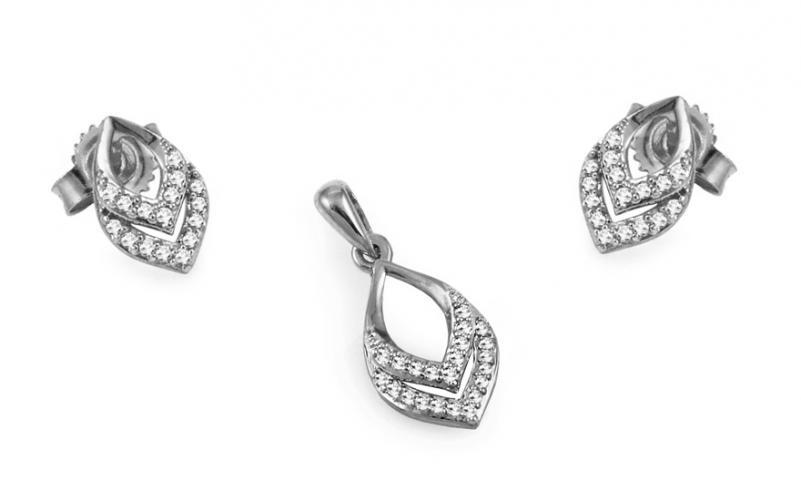 Diamantová souprava z bílého zlata KU421AS