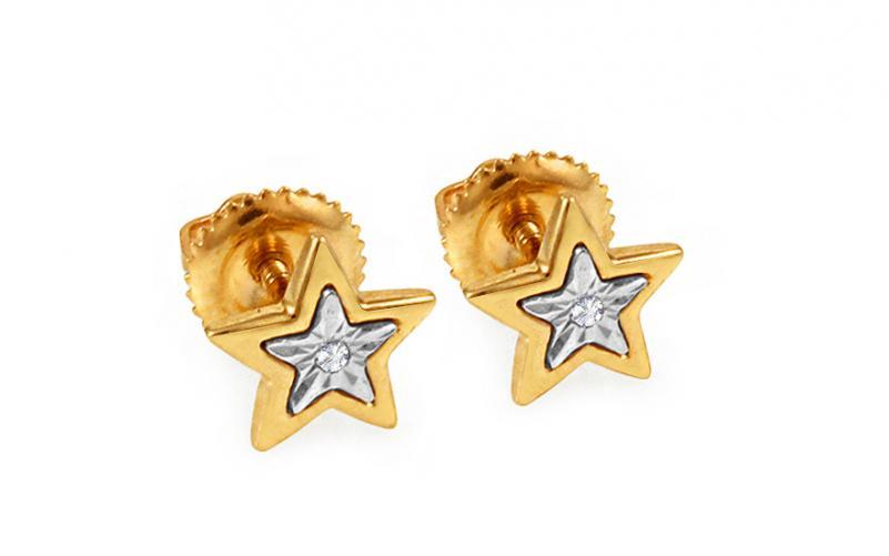 Diamantové náušnice hvězdy KU419