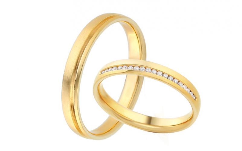 Diamantové snubní prstýnky 0,120 ct Yasmine diamonds 3,5 mm žluté IZOBBR016